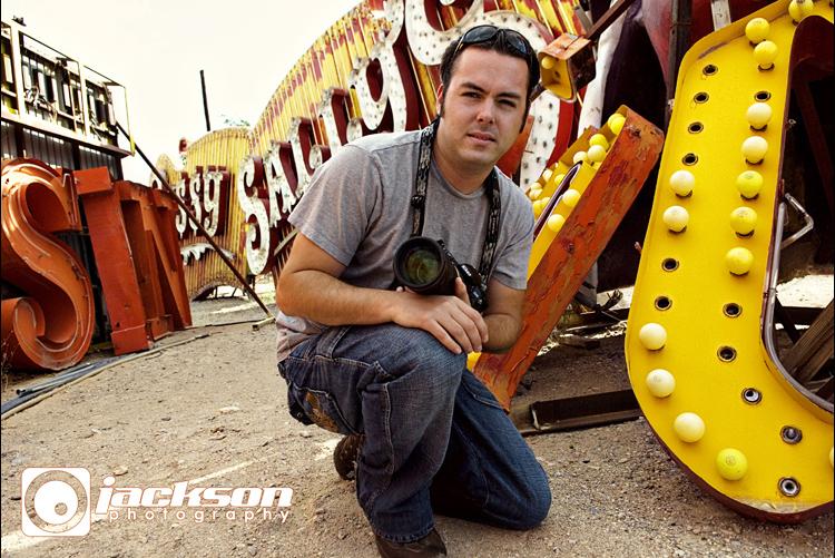 Tim Jackson shooting on location at the Neon Bone Yard.